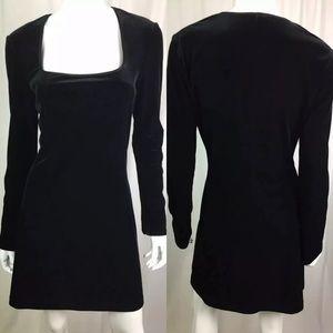 Bebe Stretchy Velvet Bell Sleeve Bodycon Dress